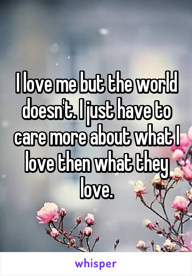 I love me but the world doesn't. I just have to care more about what I love then what they love.