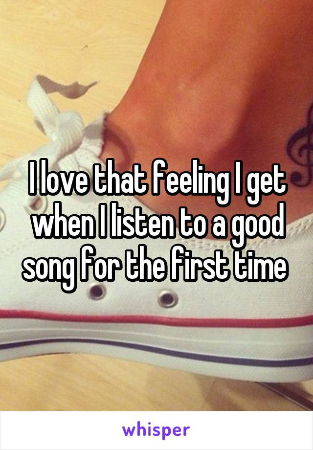 I love that feeling I get when I listen to a good song for the first time