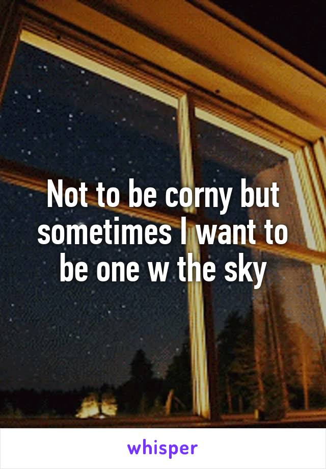 Not to be corny but sometimes I want to be one w the sky