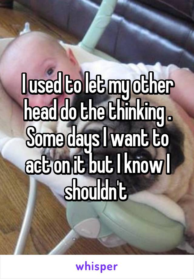 I used to let my other head do the thinking . Some days I want to act on it but I know I shouldn't