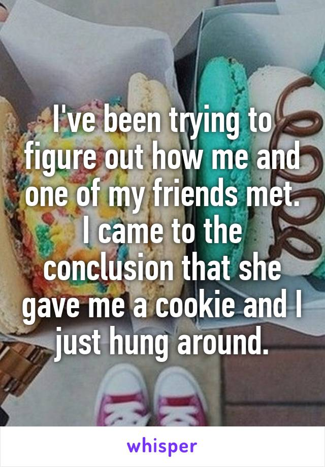 I've been trying to figure out how me and one of my friends met. I came to the conclusion that she gave me a cookie and I just hung around.