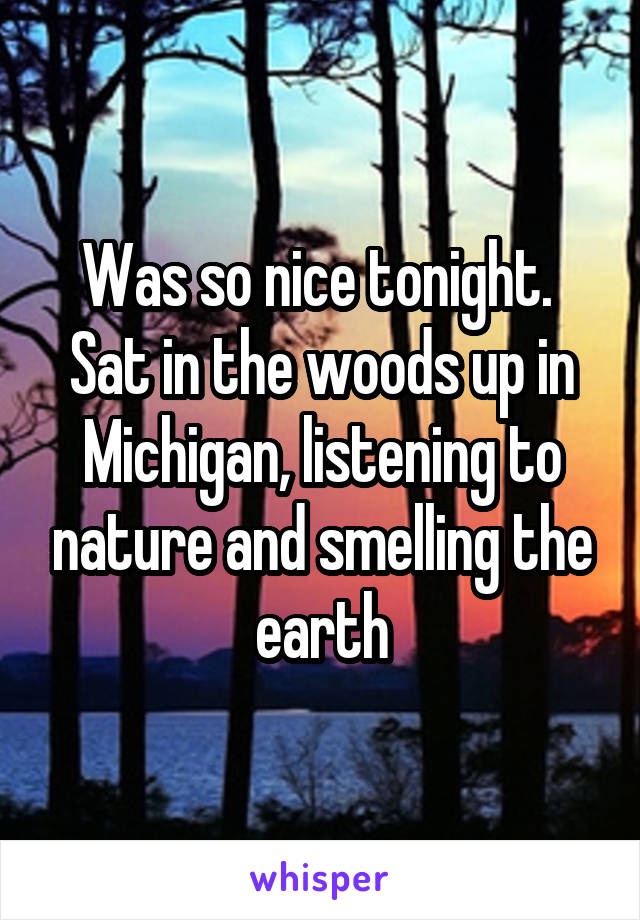Was so nice tonight.  Sat in the woods up in Michigan, listening to nature and smelling the earth