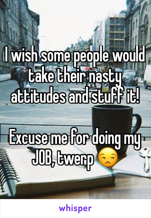 I wish some people would take their nasty attitudes and stuff it!  Excuse me for doing my JOB, twerp 😒