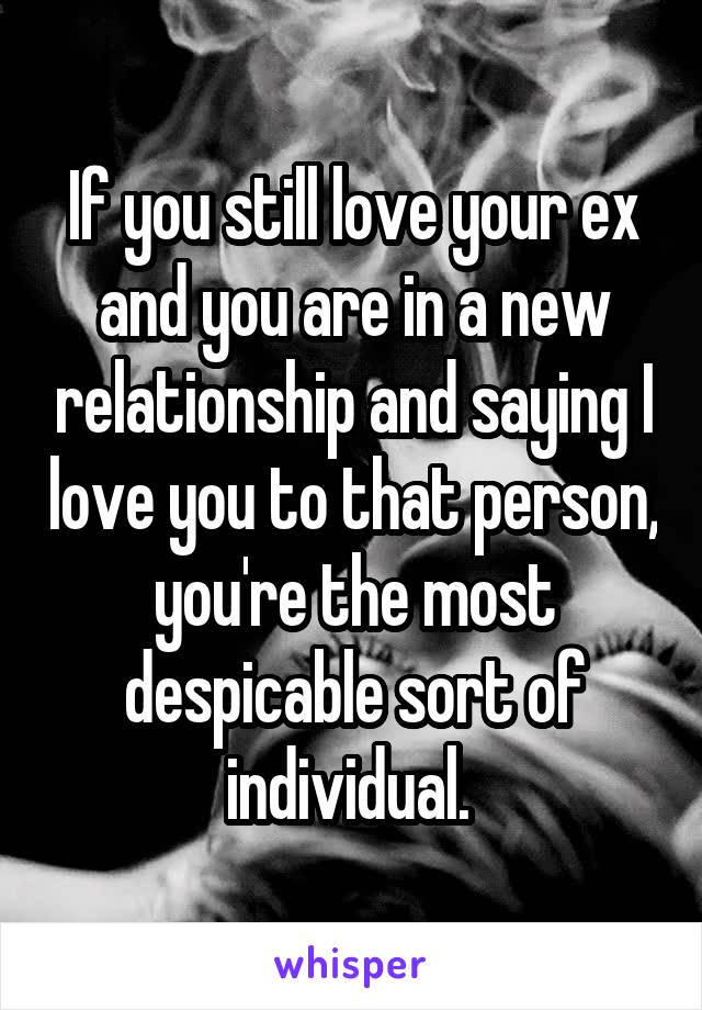 If you still love your ex and you are in a new relationship and saying I love you to that person, you're the most despicable sort of individual.