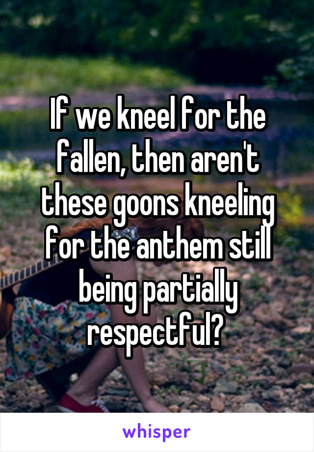 If we kneel for the fallen, then aren't these goons kneeling for the anthem still being partially respectful?