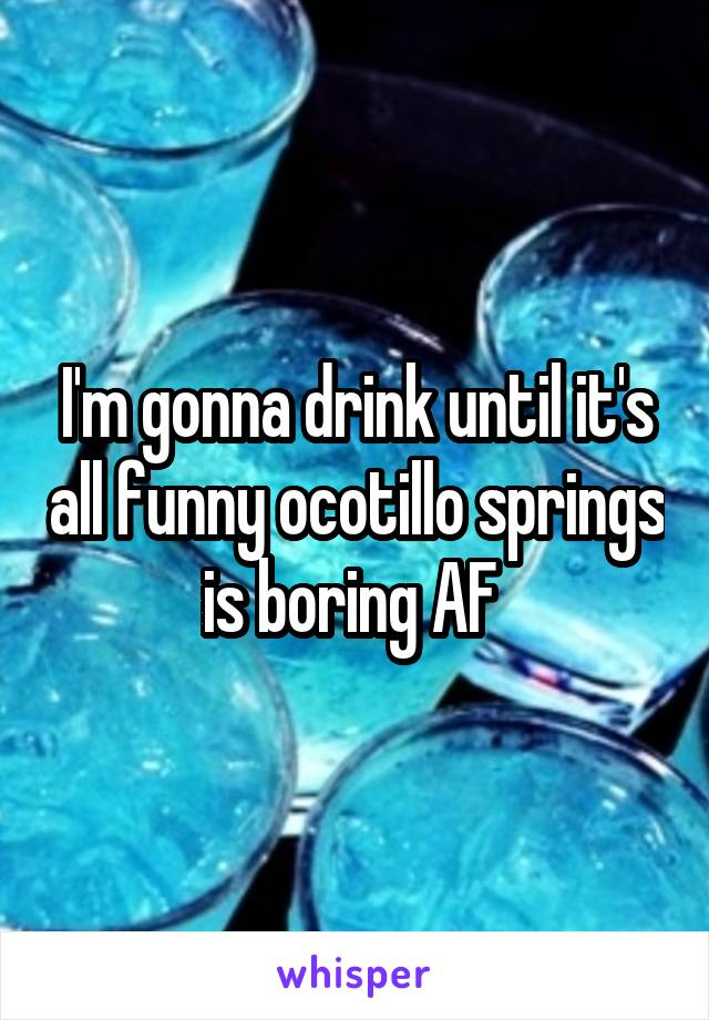 I'm gonna drink until it's all funny ocotillo springs is boring AF