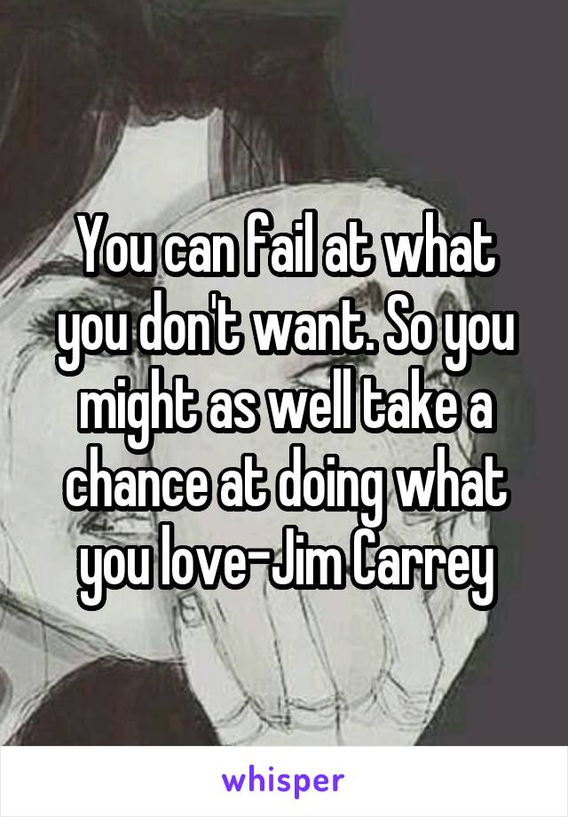 You can fail at what you don't want. So you might as well take a chance at doing what you love-Jim Carrey