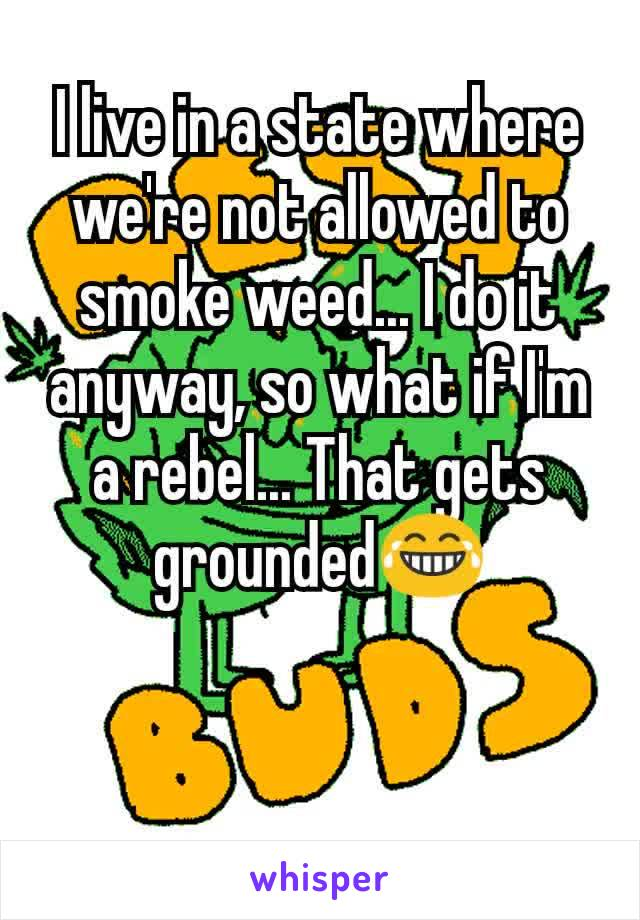 I live in a state where we're not allowed to smoke weed... I do it anyway, so what if I'm a rebel... That gets grounded😂