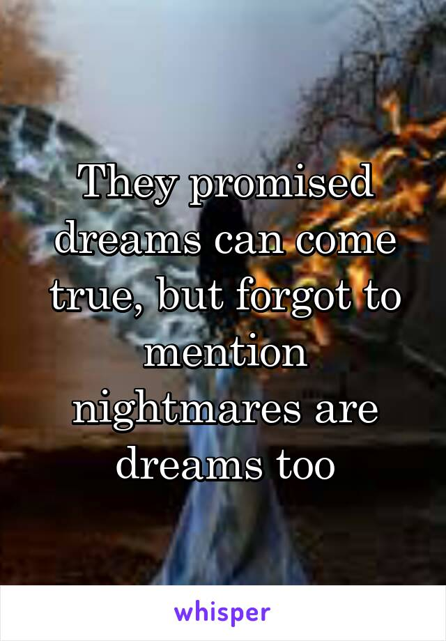 They promised dreams can come true, but forgot to mention nightmares are dreams too