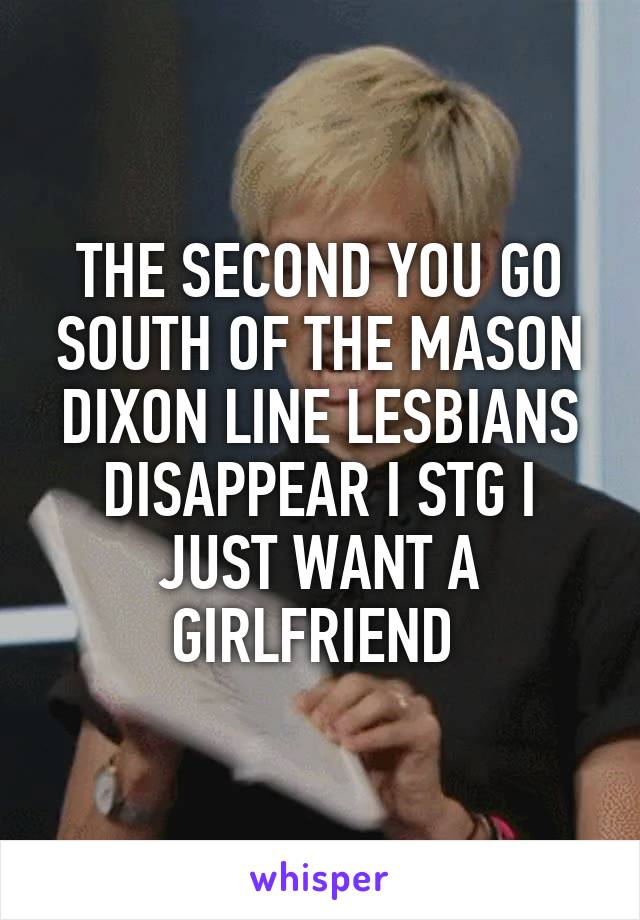 THE SECOND YOU GO SOUTH OF THE MASON DIXON LINE LESBIANS DISAPPEAR I STG I JUST WANT A GIRLFRIEND