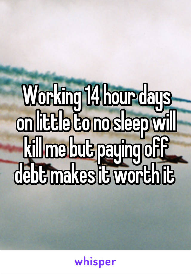 Working 14 hour days on little to no sleep will kill me but paying off debt makes it worth it