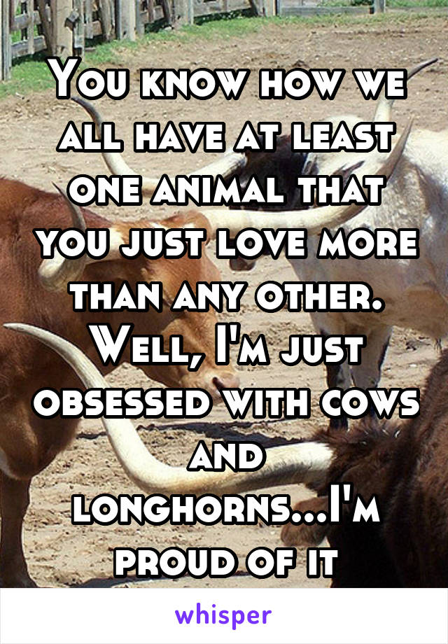 You know how we all have at least one animal that you just love more than any other. Well, I'm just obsessed with cows and longhorns...I'm proud of it