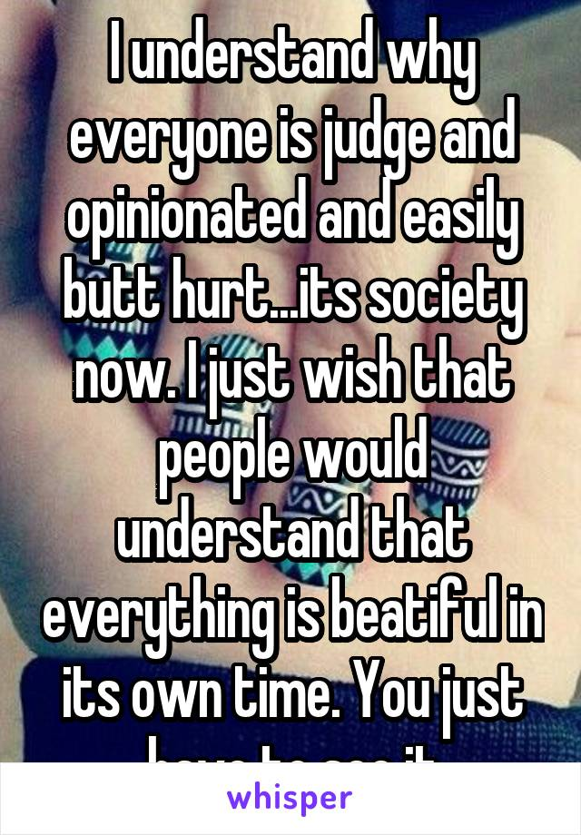 I understand why everyone is judge and opinionated and easily butt hurt...its society now. I just wish that people would understand that everything is beatiful in its own time. You just have to see it