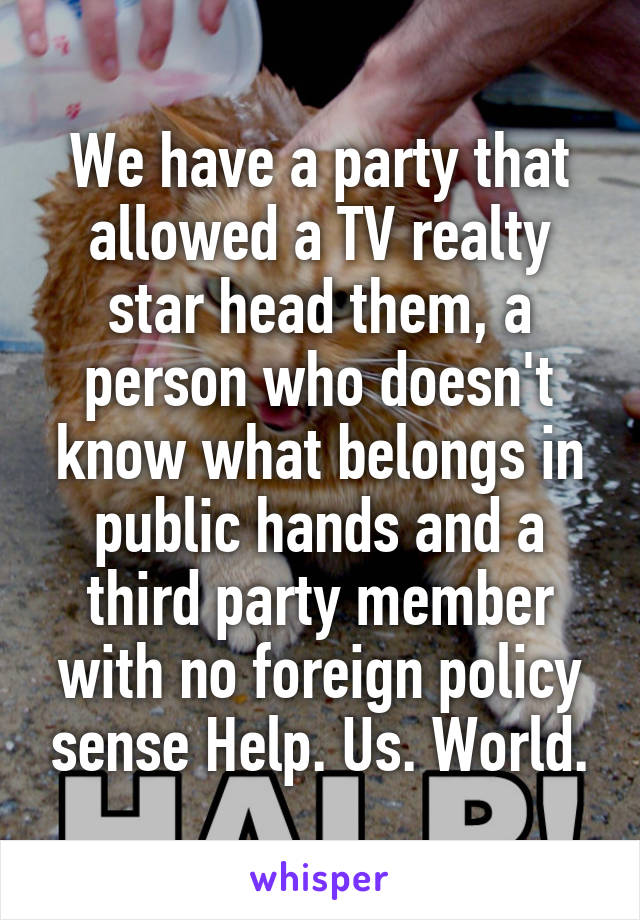 We have a party that allowed a TV realty star head them, a person who doesn't know what belongs in public hands and a third party member with no foreign policy sense Help. Us. World.