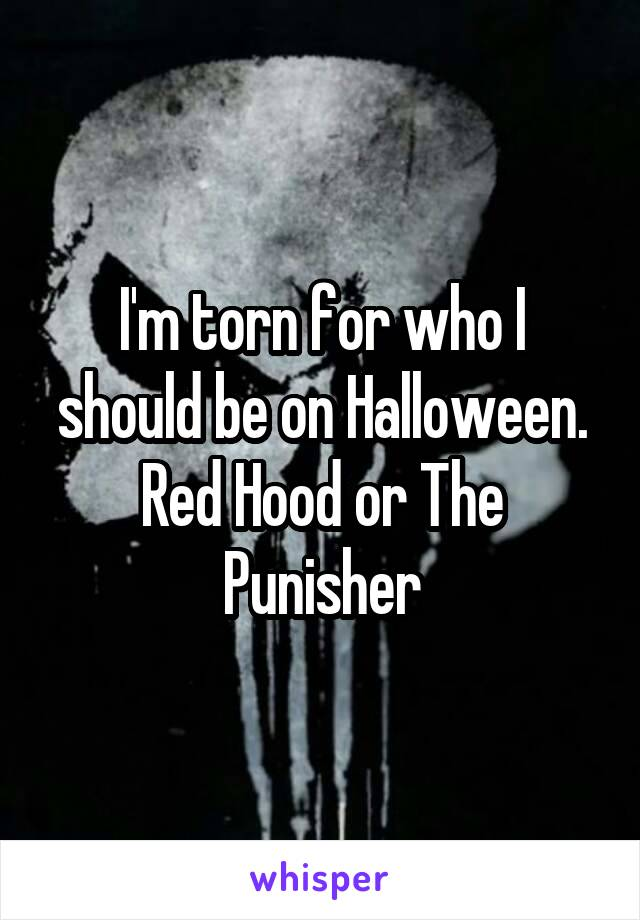 I'm torn for who I should be on Halloween. Red Hood or The Punisher