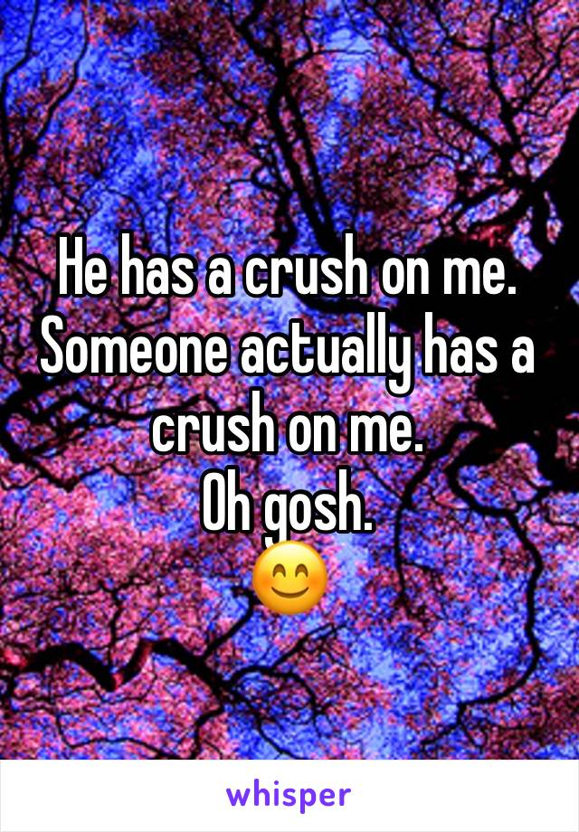 He has a crush on me. Someone actually has a crush on me. Oh gosh. 😊