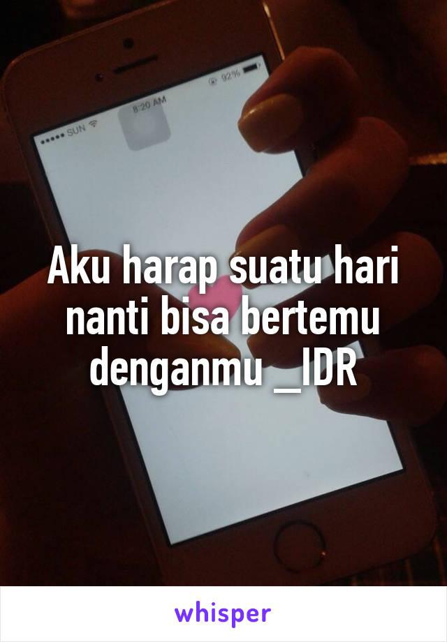 Aku harap suatu hari nanti bisa bertemu denganmu _IDR