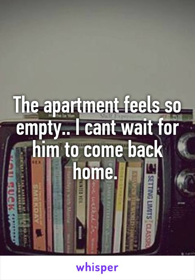 The apartment feels so empty.. I cant wait for him to come back home.