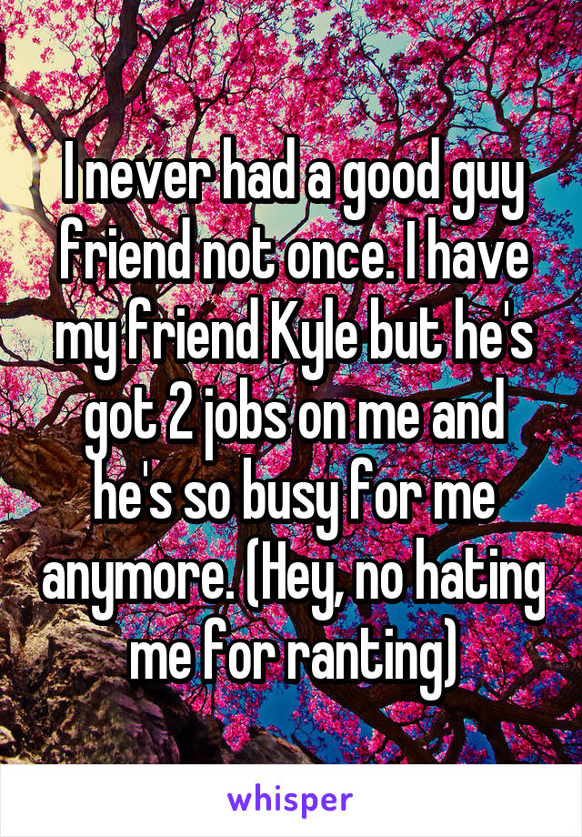 I never had a good guy friend not once. I have my friend Kyle but he's got 2 jobs on me and he's so busy for me anymore. (Hey, no hating me for ranting)