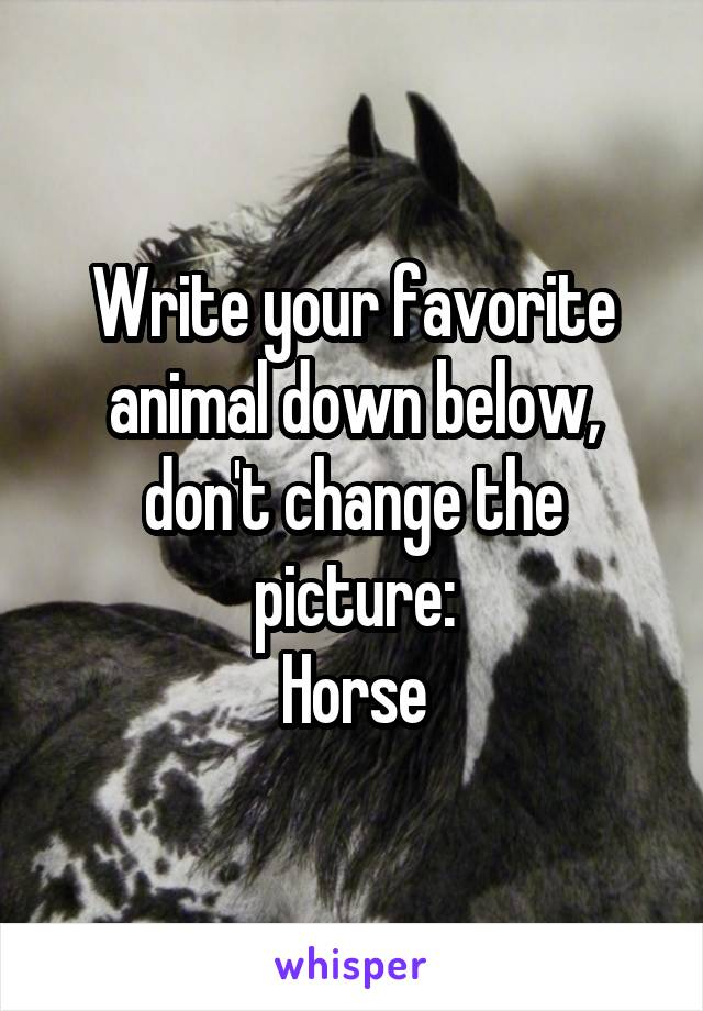 Write your favorite animal down below, don't change the picture: Horse