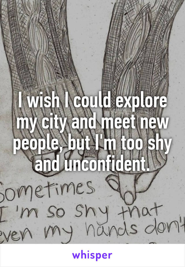 I wish I could explore my city and meet new people, but I'm too shy and unconfident.