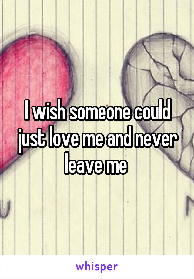 I wish someone could just love me and never leave me