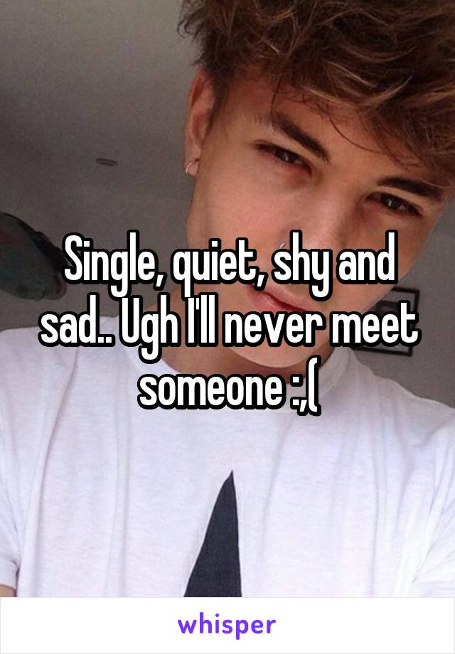 Single, quiet, shy and sad.. Ugh I'll never meet someone :,(