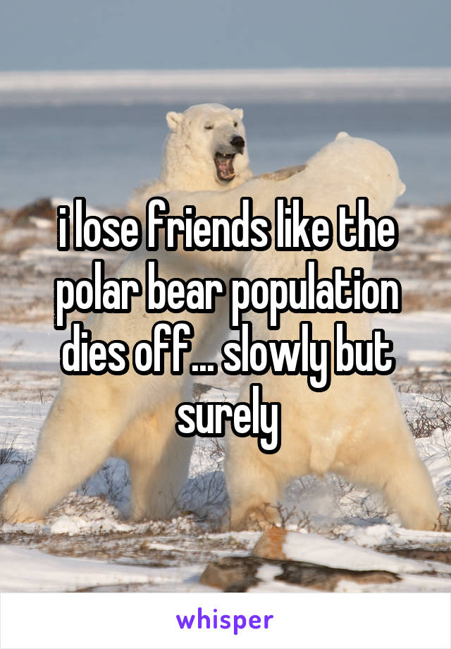 i lose friends like the polar bear population dies off... slowly but surely