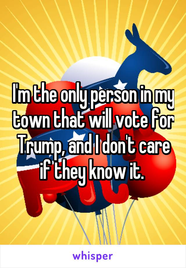 I'm the only person in my town that will vote for Trump, and I don't care if they know it.