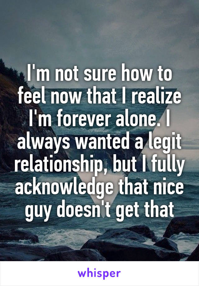 I'm not sure how to feel now that I realize I'm forever alone. I always wanted a legit relationship, but I fully acknowledge that nice guy doesn't get that