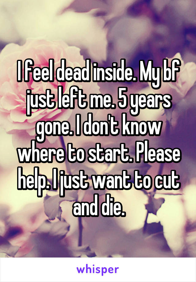 I feel dead inside. My bf just left me. 5 years gone. I don't know where to start. Please help. I just want to cut and die.