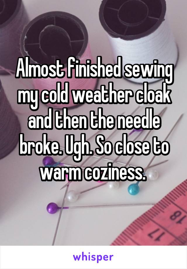 Almost finished sewing my cold weather cloak and then the needle broke. Ugh. So close to warm coziness.