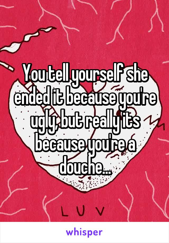 You tell yourself she ended it because you're ugly, but really its because you're a douche...