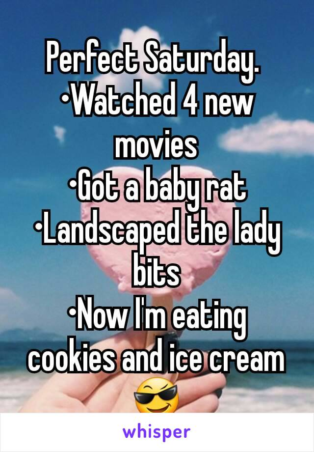 Perfect Saturday.  •Watched 4 new movies •Got a baby rat •Landscaped the lady bits •Now I'm eating cookies and ice cream 😎