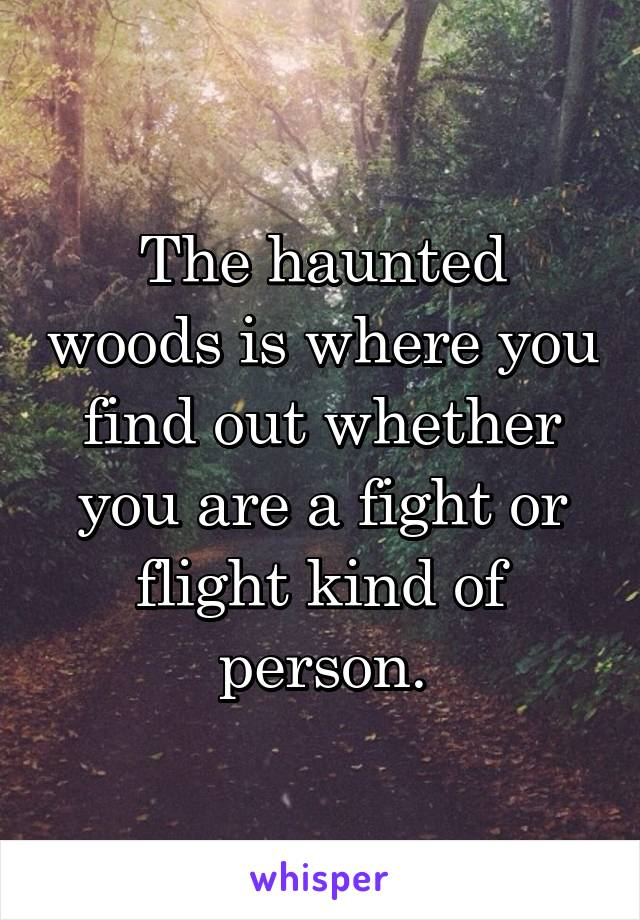 The haunted woods is where you find out whether you are a fight or flight kind of person.