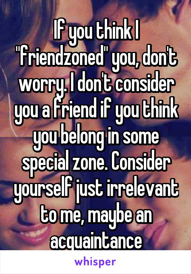 """If you think I """"friendzoned"""" you, don't worry. I don't consider you a friend if you think you belong in some special zone. Consider yourself just irrelevant to me, maybe an acquaintance"""