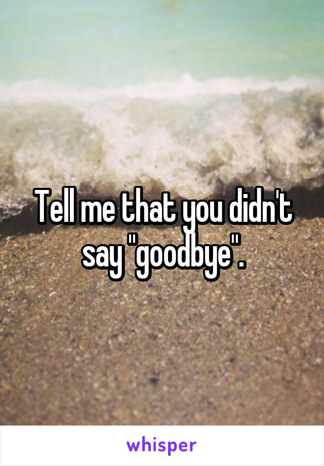 "Tell me that you didn't say ""goodbye""."