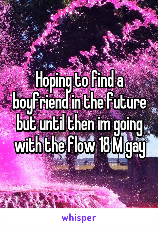 Hoping to find a boyfriend in the future but until then im going with the flow 18 M gay