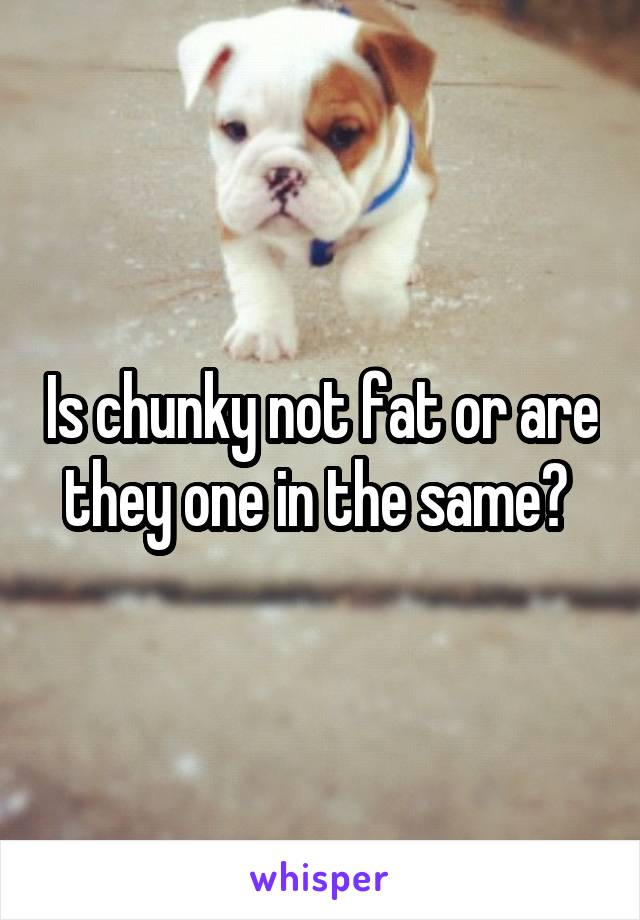Is chunky not fat or are they one in the same?