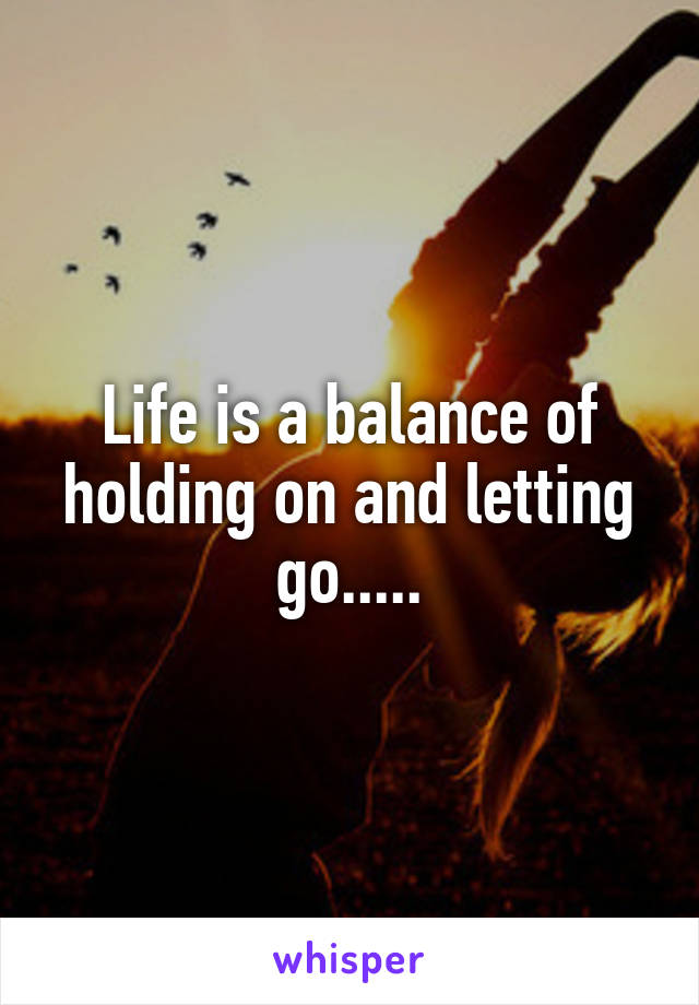 Life is a balance of holding on and letting go.....