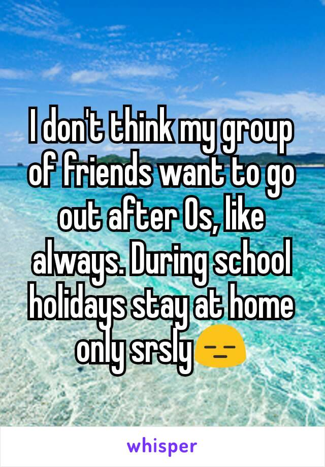 I don't think my group of friends want to go out after Os, like always. During school holidays stay at home only srsly😑