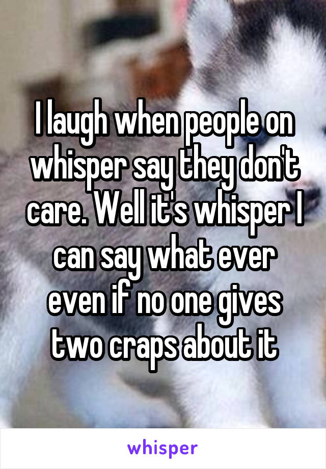 I laugh when people on whisper say they don't care. Well it's whisper I can say what ever even if no one gives two craps about it