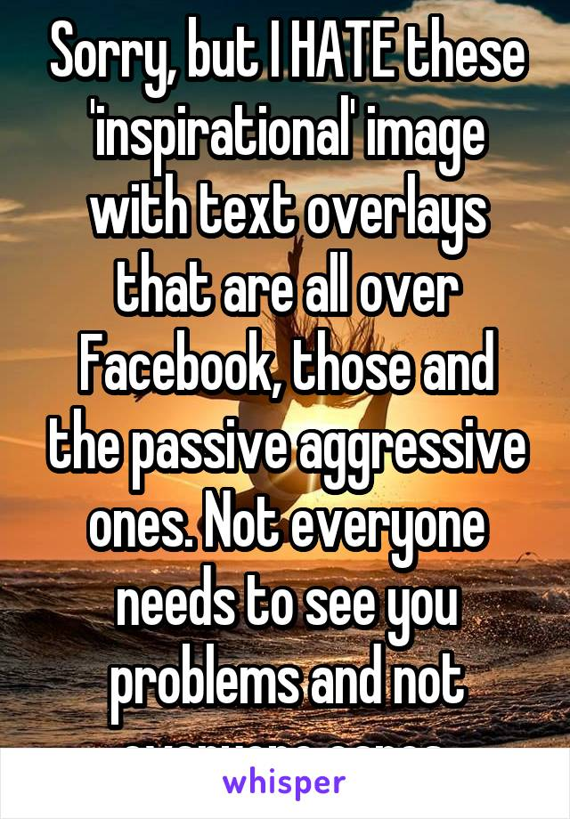 Sorry, but I HATE these 'inspirational' image with text overlays that are all over Facebook, those and the passive aggressive ones. Not everyone needs to see you problems and not everyone cares.