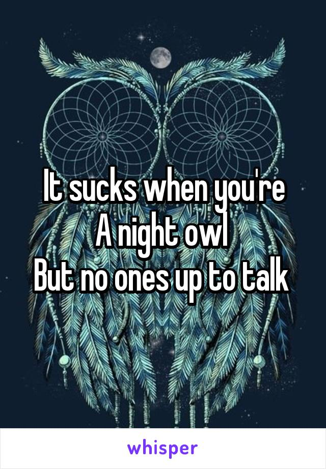 It sucks when you're A night owl  But no ones up to talk