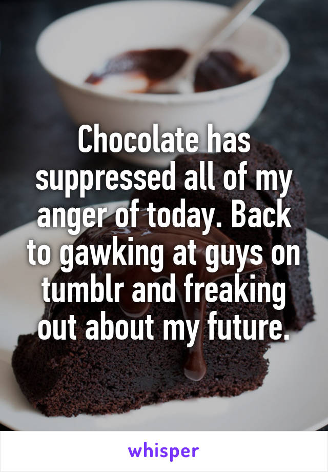 Chocolate has suppressed all of my anger of today. Back to gawking at guys on tumblr and freaking out about my future.