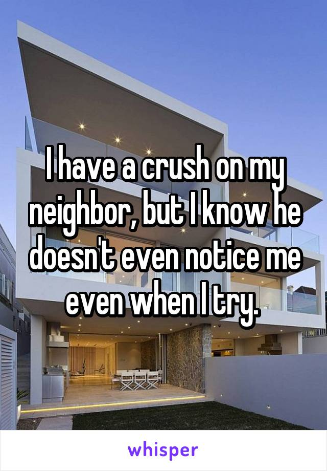 I have a crush on my neighbor, but I know he doesn't even notice me even when I try.