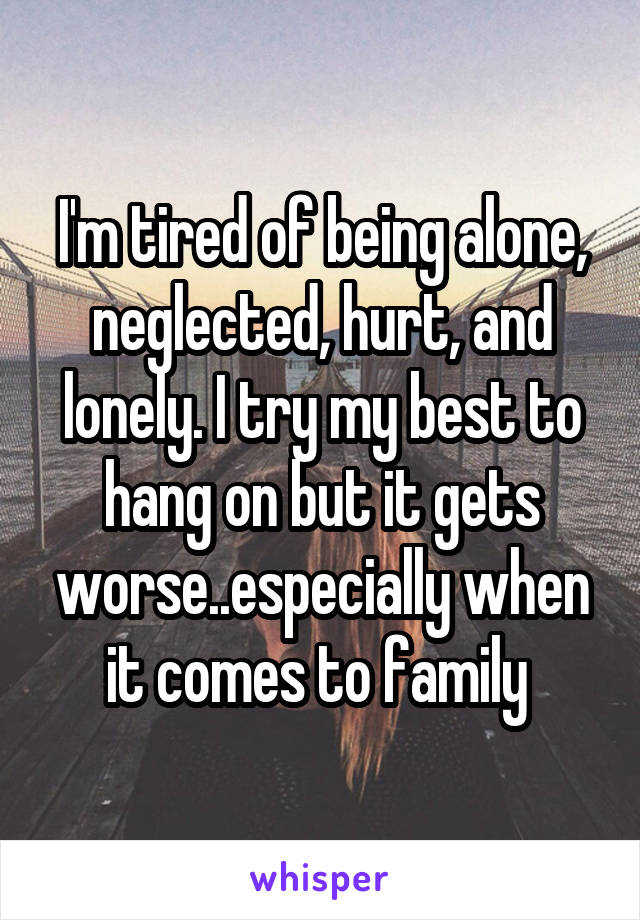 I'm tired of being alone, neglected, hurt, and lonely. I try my best to hang on but it gets worse..especially when it comes to family