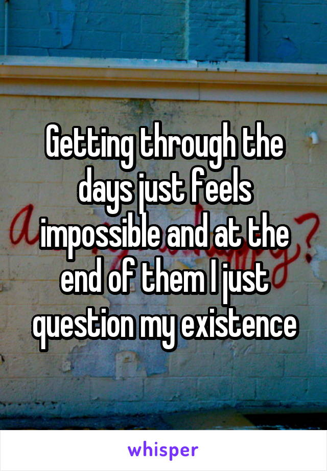 Getting through the days just feels impossible and at the end of them I just question my existence