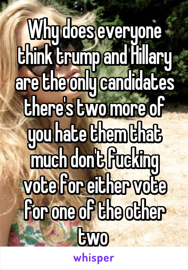 Why does everyone think trump and Hillary are the only candidates there's two more of you hate them that much don't fucking vote for either vote for one of the other two
