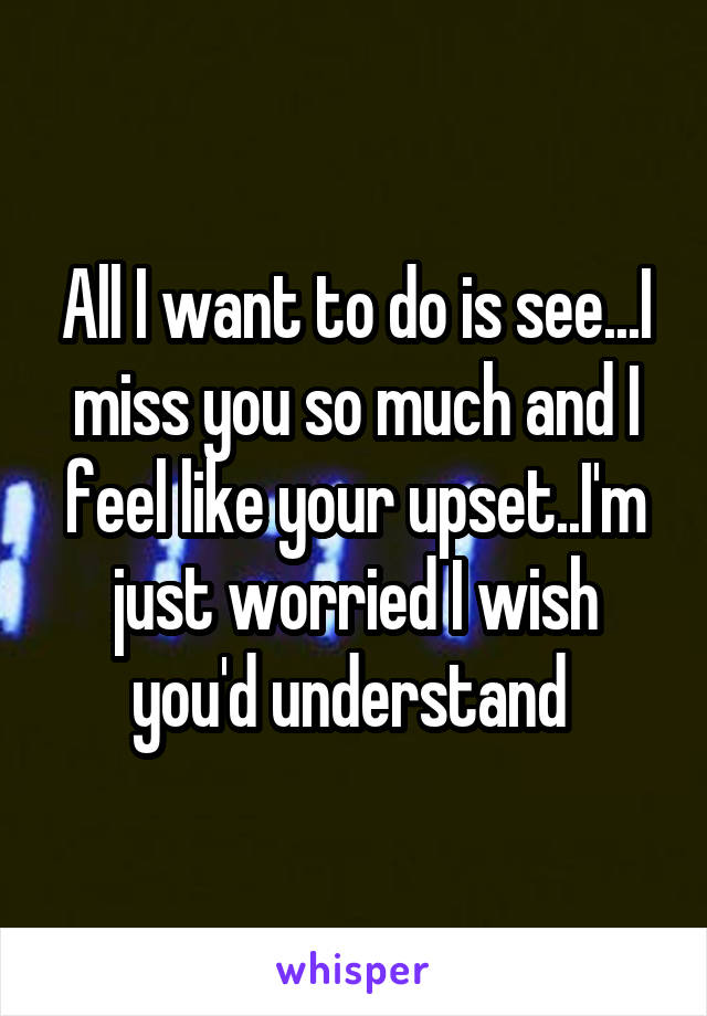 All I want to do is see...I miss you so much and I feel like your upset..I'm just worried I wish you'd understand